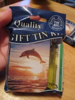 Dolphin Print Hinged Tobacco Tin Papers & Yellow Lighter Gift Set