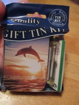 Dolphin Print Hinged Tobacco Tin Papers & Clear Lighter Gift Set