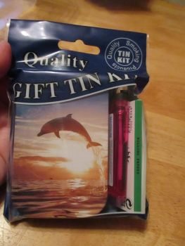 Dolphin Print Hinged Tobacco Tin Papers & Pink Lighter Gift Set