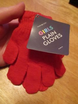 Red Warm & Cosy Girls Plain Magic Stretch Gloves
