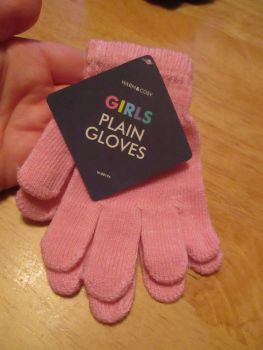Pink Warm & Cosy Girls Plain Magic Stretch Gloves