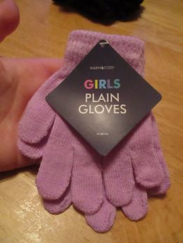 Lilac Warm & Cosy Girls Plain Magic Stretch Gloves