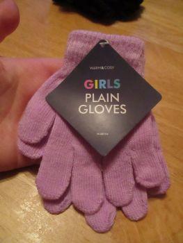 Lilac Warm & Cosy Girls Plain Magic Stretch Gloves