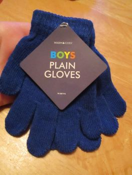 Navy Blue Warm & Cosy Boys Plain Magic Stretch Gloves