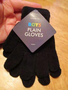 Black Warm & Cosy Boys Plain Magic Stretch Gloves