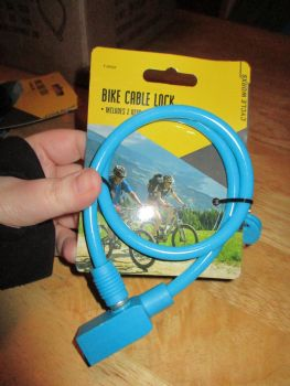 Blue Bike Bicycle Cable Lock W/ 2 Keys - Cycle Worxs