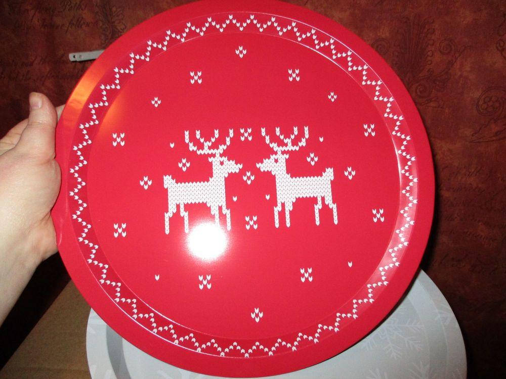 32cm Red Reindeer Design Metal Circular Tray