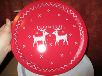 32cm Red Reindeer Design Metal Circular Tray
