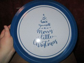 32cm Blue Christmas Quote Tree Design Metal Circular Tray