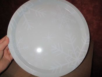 32cm Grey Snowflake Design Metal Circular Tray