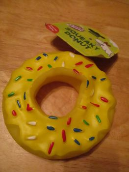 Yellow Donut Fletchers Chase N Chew Squeaky Dog Toy