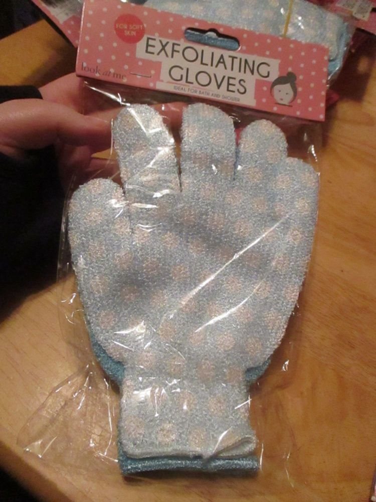Blue Exfoliating Wash Gloves 2pk - Ideal For Bath & Shower - Look At Me