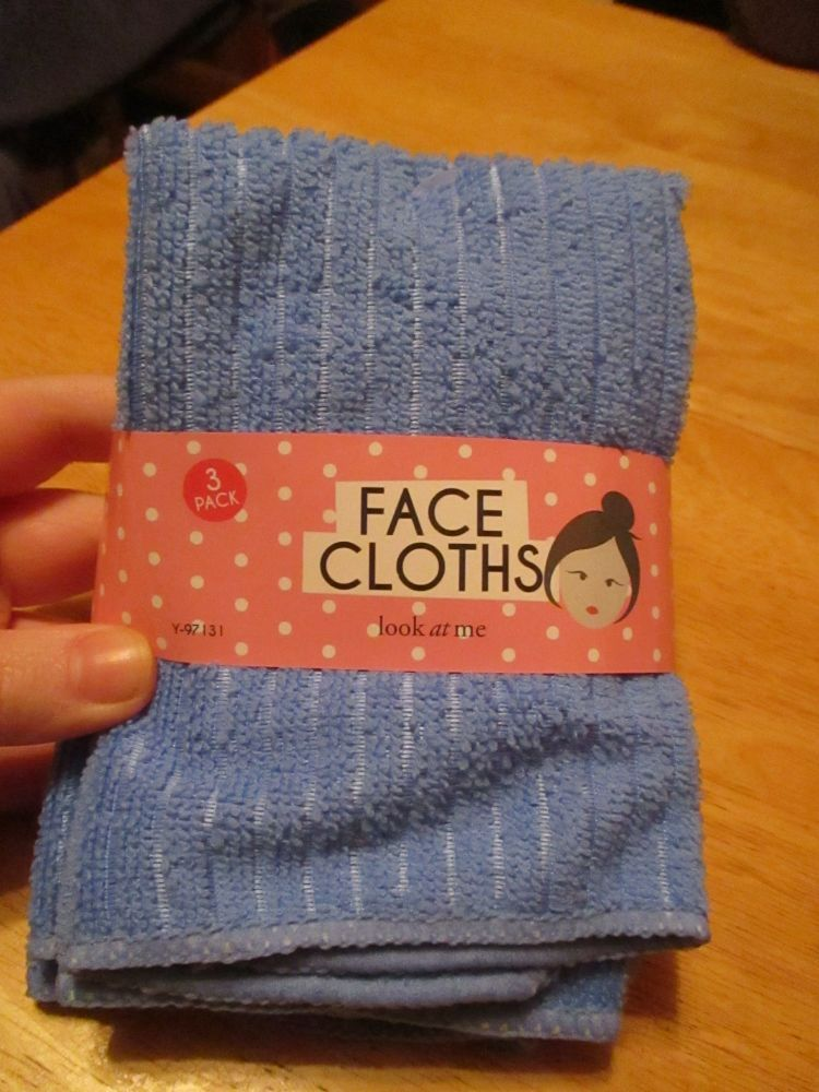 Blue & White 3pc Microfibre Polyester Face Cloth Flannel Set - Look At Me