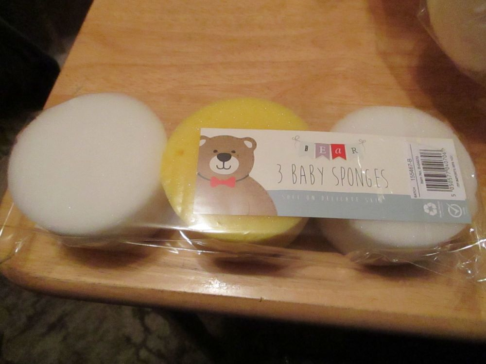 White / Yellow 3pc Baby Sponge Set - Bear