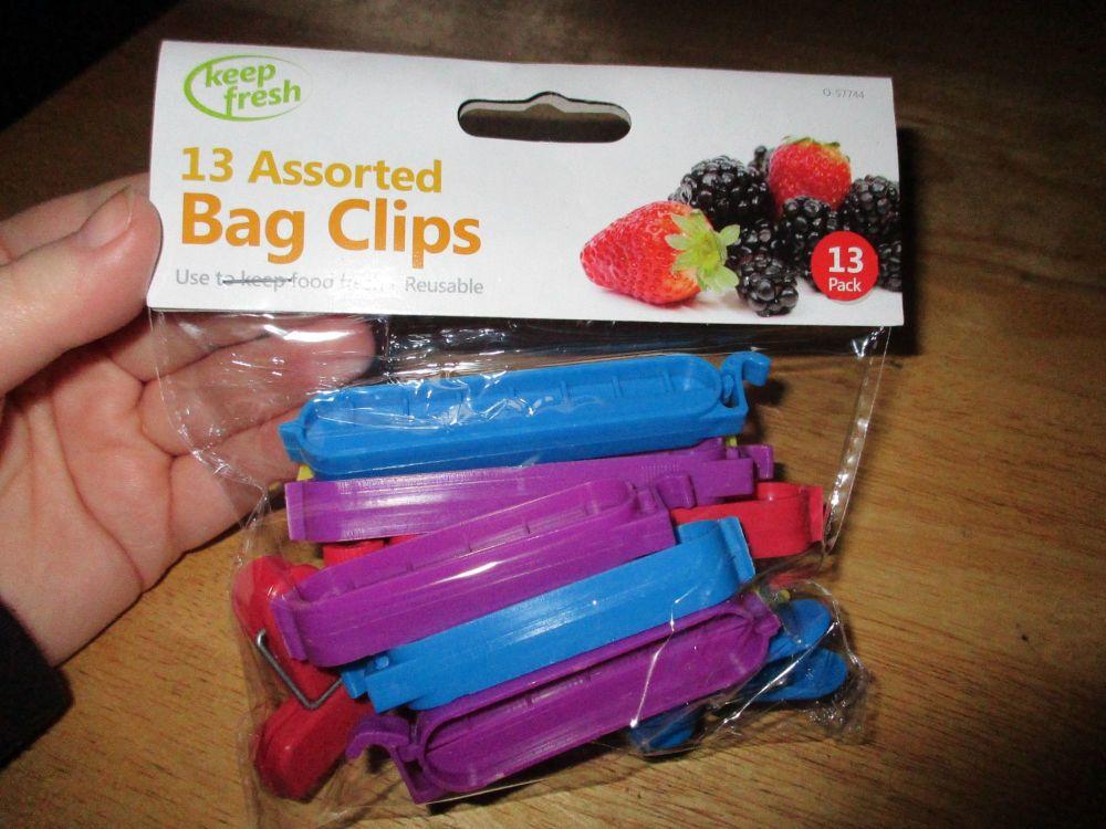 13pc Assorted Plastic Bag Clips - Keep Fresh