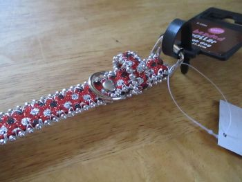 Small Red Black Dot Beaded Dog Collar - Barkers - Who's Walking Who