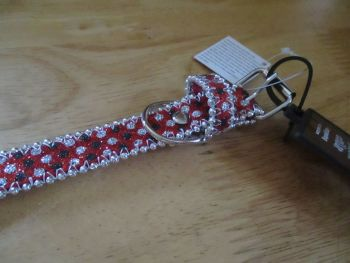 Large Red Black Dot Beaded Dog Collar - Barkers - Who's Walking Who