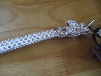 Large White Pink Dot Beaded Dog Collar - Barkers - Who's Walking Who