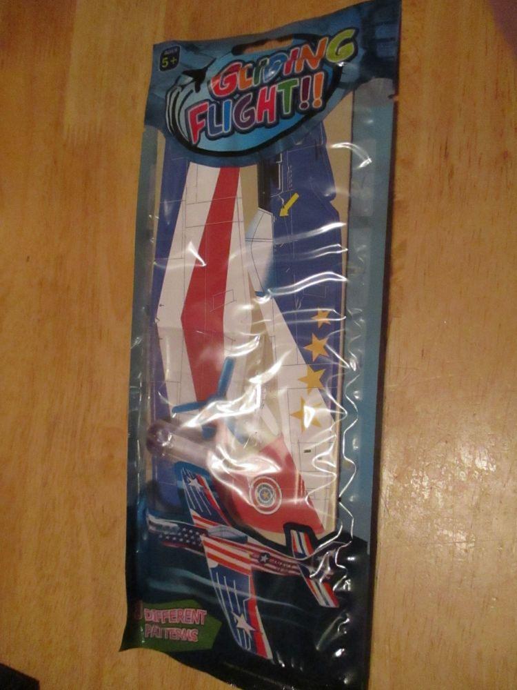 Red White Blue Star Design - Gliding Flight - Foam Super Glider