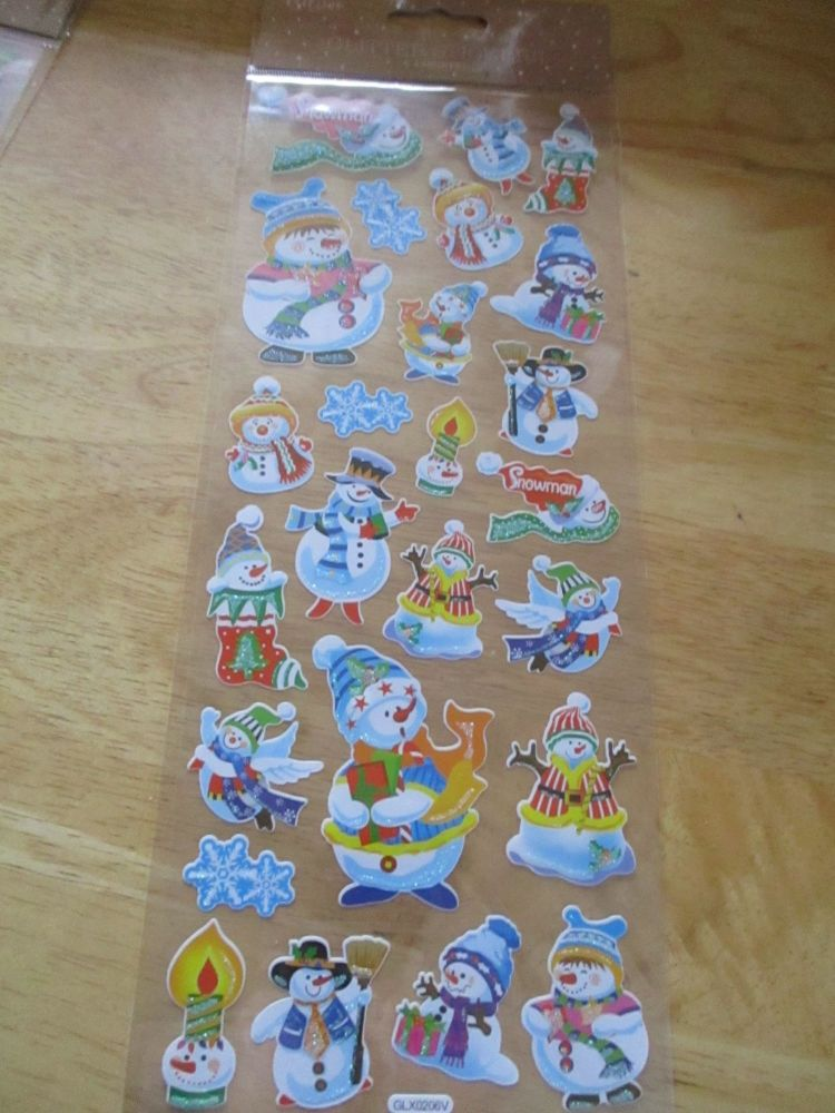 Cartoon Snowmen Glitter Design - Believe - Sticker Sheet