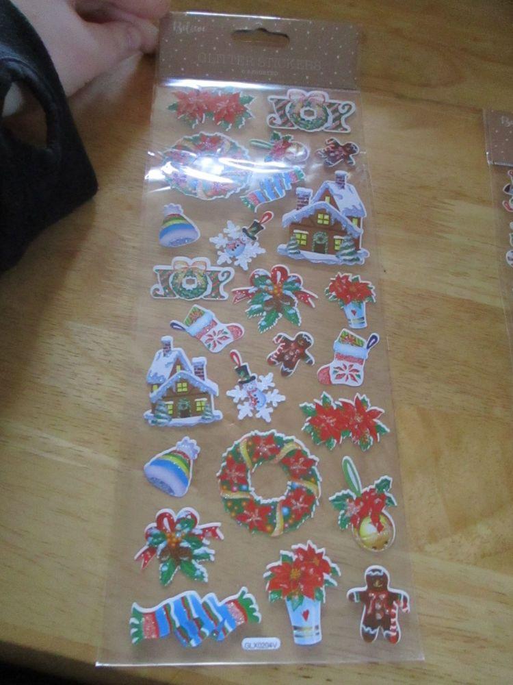 Wreath Gingerbread Christmas Glitter Design - Believe - Sticker Sheet