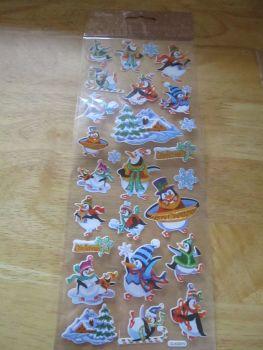 Cartoon Penguins Glitter Design - Believe - Sticker Sheet