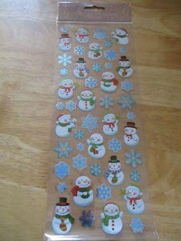 Cartoon Cute Snowmen & Snowflakes Glitter Design - Believe - Sticker Sheet