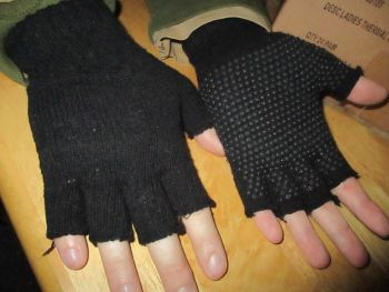 Black Fingerless Gripper Gloves