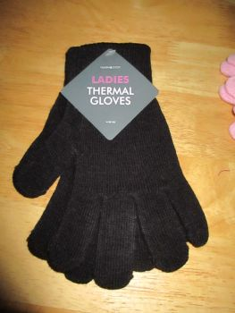 Black Ladies Thermal Gloves