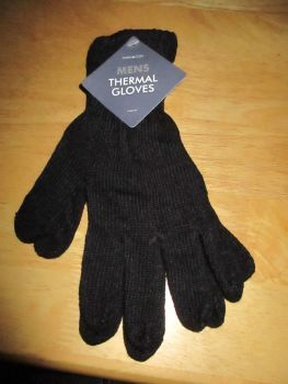 Black Mens Thermal Gloves
