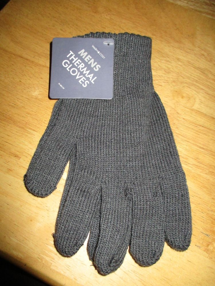 Grey Mens Thermal Gloves