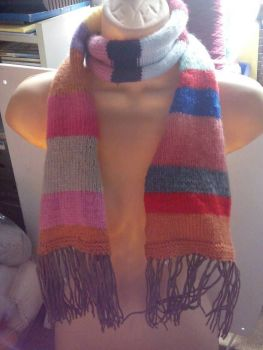 "Pinks Orange Multi Stripe Brown Trim 52"" Scarf. Knitted By KittyMumma"