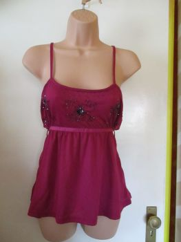 Berry Purple Zingara Size XL Beaded Strappy Top