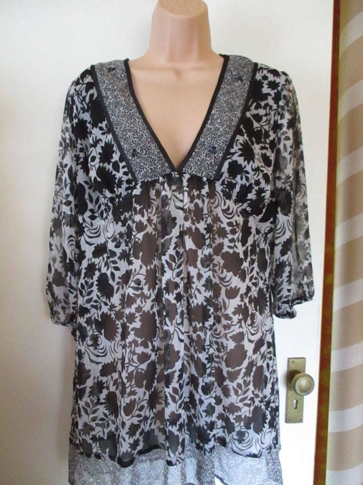 Black & Grey Tunic MK Size 14 Sequin Detail see Through Top