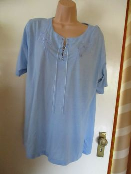 Blue Lace Up Embroidered Floral T-shirt - One Size Fits All - Unbranded