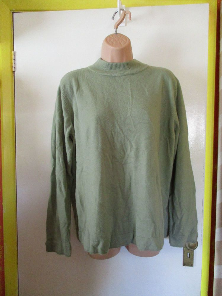 BM Sage Green Knitted Jumper Size L W/ Button Sleeve Detail