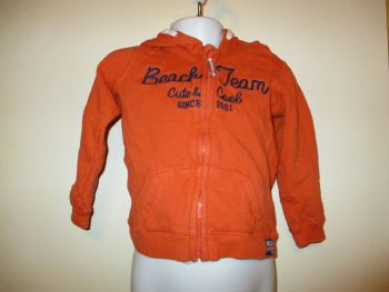 Orange With Navy Blue Detail Fleece Hoodie - Size 18-24 Months - Florence & Fred
