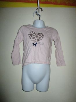 Pale Eggshell Pink Top Navy Blue Bow & Silver Hearts Design - Size 24-36 Months Young Dimensions