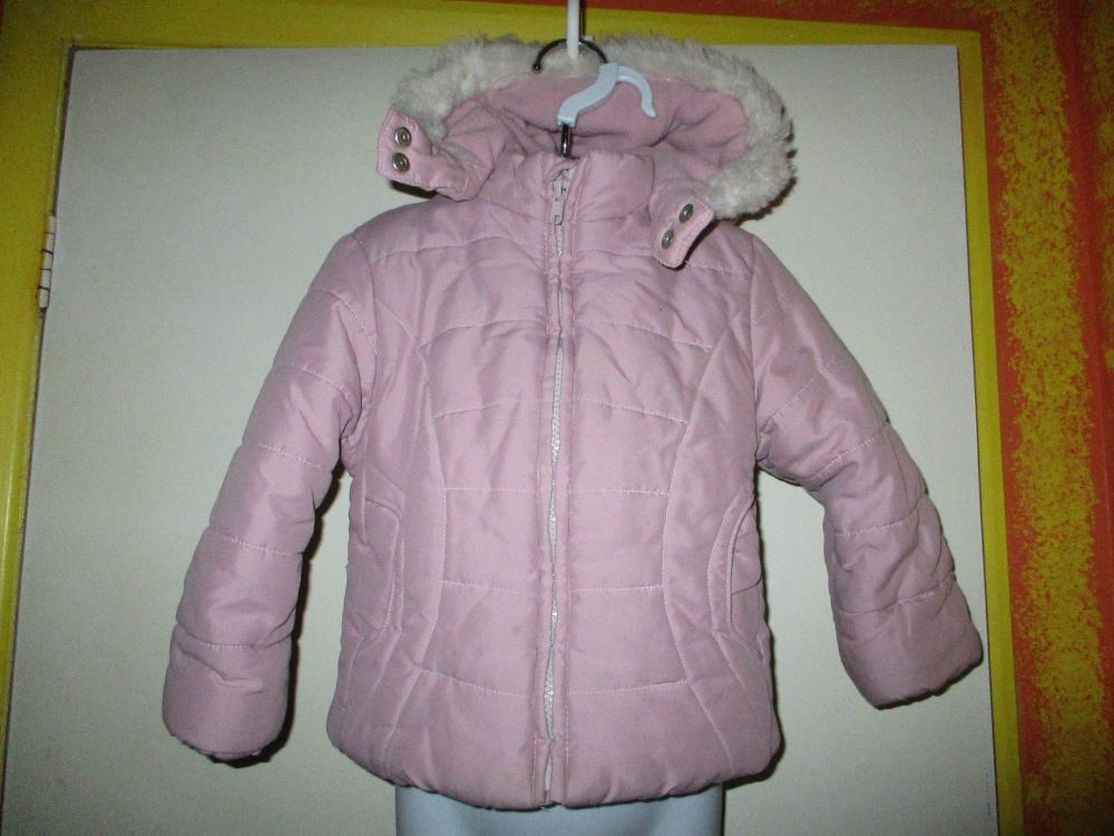 Pink Faux Fur Trim & Fleece Lined Hooded Jacket / Coat - Size 2-3yr Adams K