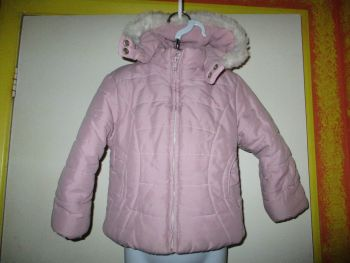 Pink Faux Fur Trim & Fleece Lined Hooded Jacket / Coat - Size 2-3yr Adams Kids