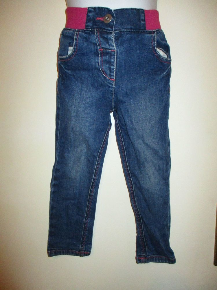 Pink Waist Blue Jeans 2-3yrs Tu