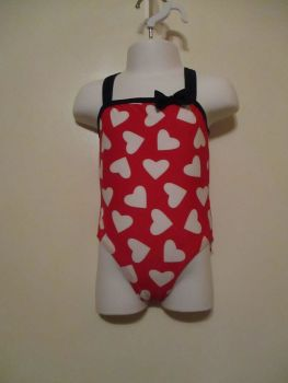 Red White Hearts Crossed Back Straps Swimsuit - 1yr - Tu