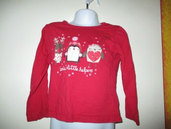 Santas Little Helper Red Top Reindeer Robin Penguin Design - Size 3-4yr Young Dimensions