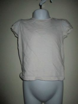 White T-Shirt W Floral Sleeve Caps Size 2-3yr Florence & Fred