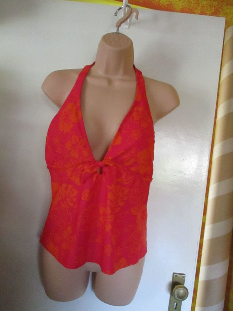 Hot Pink W/ Orange Floral Design Beach Life Evie Size 18 Padded Halter Neck Swim Top