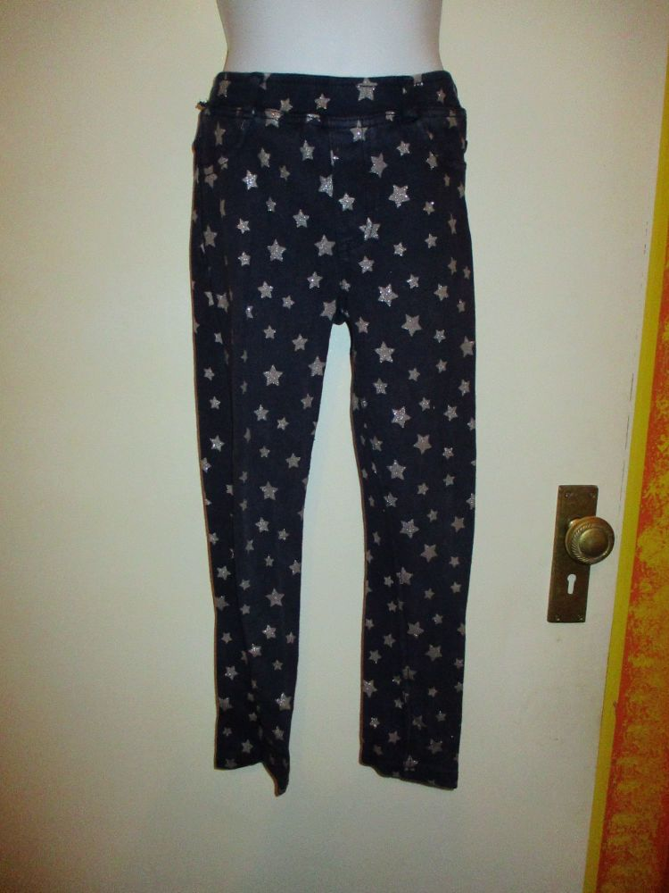 Dark Navy Blue Casual Trousers Silver Stars - Size 7-8yrs H&M