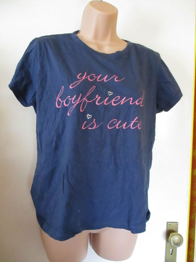 Navy Blue Papaya Size XL Your Boyfriend Is Cute T-Shirt