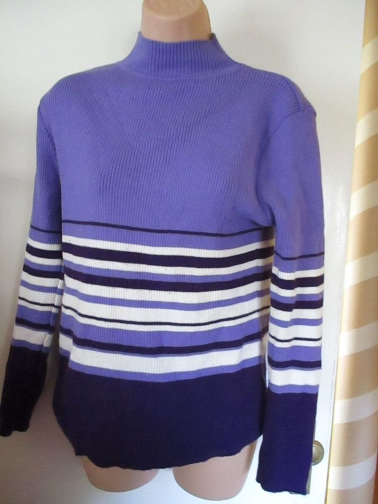 Purple Striped Essentials Knitted Jumper Size 18-20