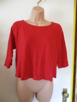 Red Modern Casuals Size 16 3/4 Length Sleeved Top