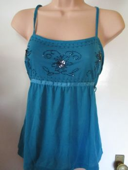 Teal Blue Zingara Strappy Top Size XL
